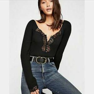 Free Peope Black lace Thermal top